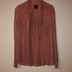 pink american eagle button down long sleeve